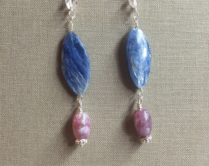 Blue Kyanite, Pink Lepidolite and Quartz Earrings with Sterling Silver and Bali Silver