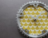 Bicycle Gear Clock - Yellow Waves  | Bike Clock | Wall Clock | Recycled Bike Parts Clock