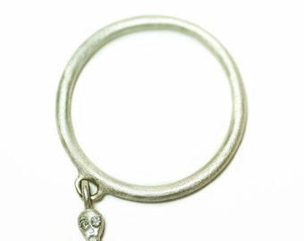 Mini Skull Charm Dangle Ring in Sterling Silver with Diamonds