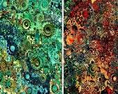 Artist Made Quilting Fabric By The Yard 2 Panels Golden Green Fall Craft Celestial Kaleidoscope