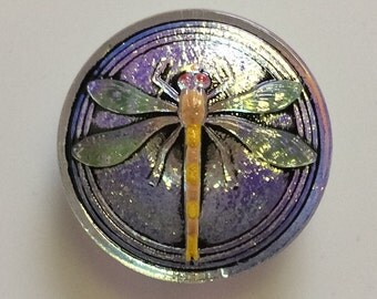 Dragonfly Czech pressed glass button hand painted irridescent finish 31mm
