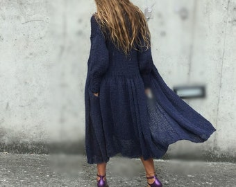 blue sweater, swing skirt coat, blue coat, knitted coat, long sweater