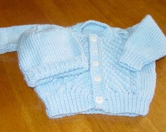 Hand knitted Baby Sweater and Bonnet-Handmade Infant Reborn Dolls, shower gift, baby set, newborn, infant sweter