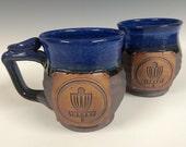 Disk golf mug, frisbe, Handmade personalized pottery, ready to ship