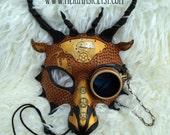 READY TO SHIP Draco Temporis ...hand made original leather mask masquerade mardi gras halloween steampunk dragon costume
