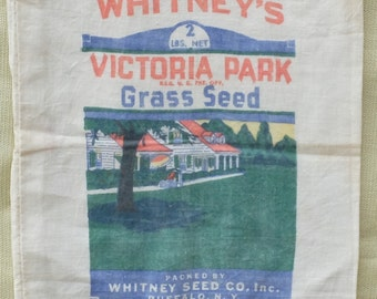 Vintage Grass Seed Bag Material Fabric Whitneys Victoria Park Buffalo NY