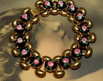 Vintage Bracelet Painted Pink Roses
