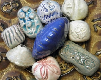 Ceramic Beads Handmade Large Chunky Focals Accents