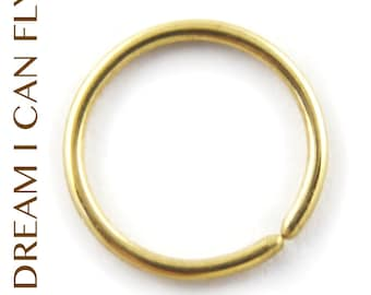 8mm 20g 24K Gold Nose Ring / Cartilage Hoops - Seamless Hoop earrings in 20 gauge solid 24K yellow gold