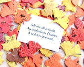 100 Ginkgo Leaves Plantable Seed Paper Confetti Leaves Wedding Favors - Tulip Tree Leaf and Elm Leaf - Fall Wedding Leaves with Haiku Card