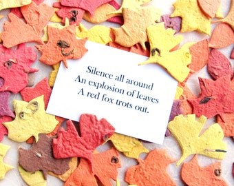 100 Confetti Ginkgo Leaves Plantable Seed Paper Leaves Wedding Favors - Tulip Tree Leaf and Elm Leaf - Fall Wedding Leaves with Haiku Card