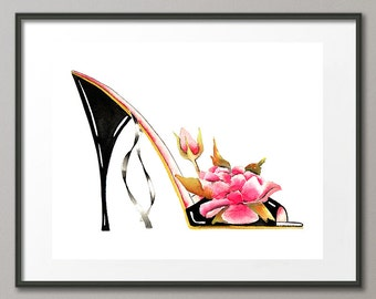 Fine Art Print Pink Roses Flower Shoes Stiletto Fashion Colorful Watercolor Painting Elena