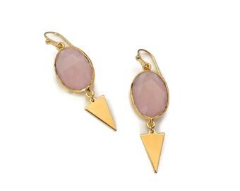 Rose Quartz Gemstone Earrings // Dangle Earrings