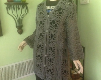 Sweater, women's sweater, cardigan, crochet, XS to XL, bust, women's clothing, women's fashions, sweaters