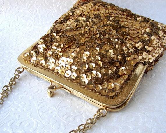 Vintage Gold Bead Sequin Flower Purse Glass Beaded Handbag Chain Shoulder Strap Golden Wedding Formal Prom Evening Bag Hand Made Hong Kong