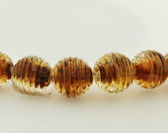 Ribbed Brown Handmade Lampwork Glass Bead Set by Lara
