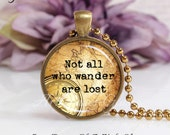 Round Medium Glass Bubble Pendant Necklace- Not All Who Wander Are Lost Antique Map And Compass