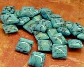 June Sale - 12 Vintage Turquoise Matrix 8x8mm Glass Jewels  (C4-12)