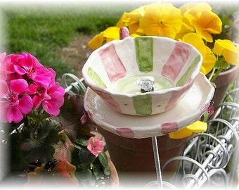 Garden Art Tea Cup Bird feeder Ceramic Garden Art birthday gift Tea Cup Garden Art
