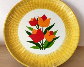 Vintage Yellow Tulip Round Plastic Platter Tray