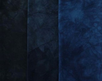 Hand Dyed Fabric - darkest BLUE to BLUE BLACK Shades - 3 pc Fat Quarter Gradation Bundle - Tuscan Rose MBBK762