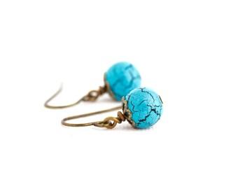 Turquoise Earrings - Boho Earrings -  Birds Egg Earrings - Small Earrings - Beaded Earrings - Gift For Woman - Small Drop Earrings