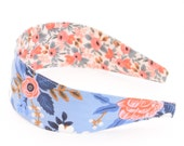 Special Edition REVERSIBLE Rifle Paper Co Les Fleurs Birch in Periwinkle Comfort Fit Fabric Headband
