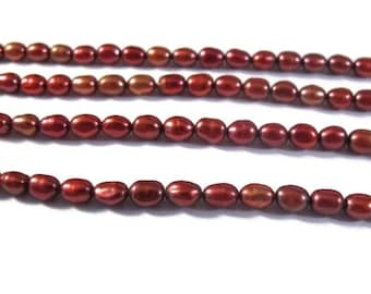 Labor Day SALE - Small Red Pearls, Burgundy Rice Pearl Beads, Freshwater Pearls for Making Jewelry, 5mm x 3.5mm (P-R15)
