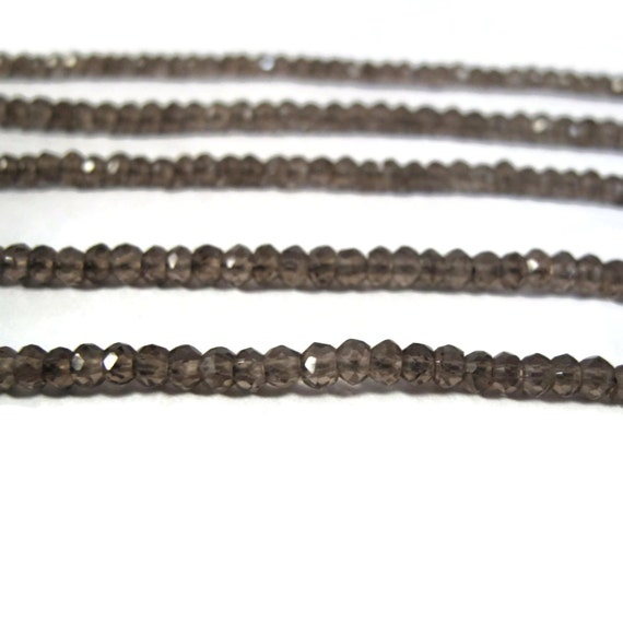 Natural Smoky Quartz Beads, 3.5mm Faceted Rondelles, Small Natural Gemstone Beads for Making Jewelry, 14 Inch Strand, Over 120 Beads (R-SQ4)