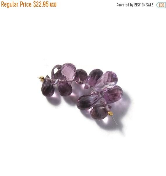 HOT SALE - Ten Amethyst Beads, Pink Amethyst Gemstones, 7x4mm-9x5mm, 10 Light Purple Stones for Making Jewelry (Luxe-Am2a)