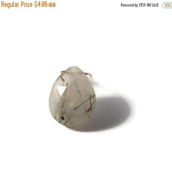 BIRTHDAY SALE - One Gemstone Briolette, Black Rutile Quartz Bead, Large Faceted Pear Shaped Natural Gemstone, 16mm x 12mm (B-Brq5a)