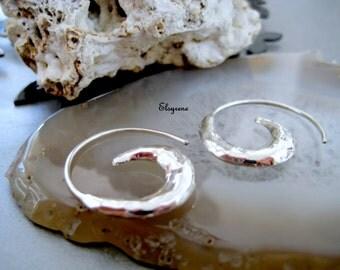 Silver 925 spiral Earring earrings-Threader hammered Silver Hoop Earrings-Wave Hoop Earring-gift for her-bohemian,zen-puffy spiral earrings
