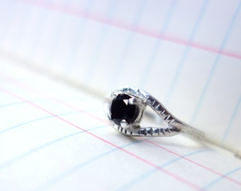 Faceted Black Onyx Eye Ring