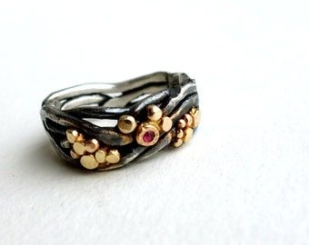 Ruby River Rocks Ring- Heavy Sterling Silver Nest Band with Gold Pebbles and Ruby