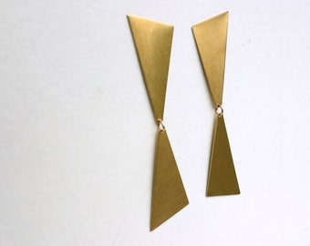 Large and Lightweight Brass Triangle Dangle Studs