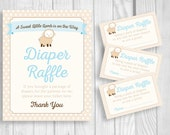 Printable Sweet Little Lamb 8x10 Blue Baby Shower Diaper Raffle Sign and Sheet of 3x5 Raffle Tickets - Beige & White Polka Dots