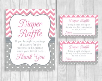 Printable 5x7 or 8x10 Baby Shower Diaper Raffle Sign and Sheet of 3x5 Raffle Tickets - Pink Chevron and Gray & White Polka Dots