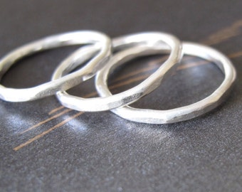 silver stack rings hammered organic sterling band