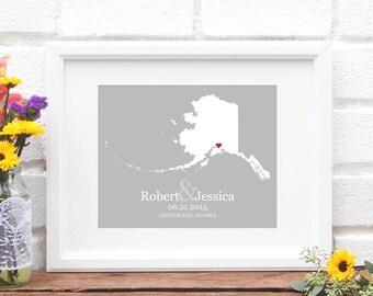 Wedding Gift, Alaska State Map , Personalized Alaska Wedding Art, Bridal Shower Gift, Gift for Anniversary, Engagement Gift- Art Print