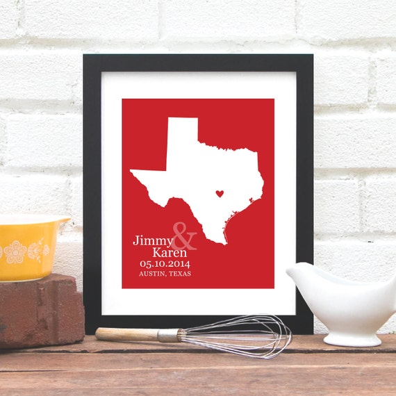 Texas State Map Print, Wedding Gift, Mr. & Mrs., Personalized State Map Print, Bridal Shower Gift, Texas Bride - 8x10 Art Print