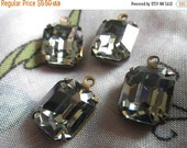 Swarovski Black Diamond 12x10mm Octagon Article 4600 Brass Ox Glass Drops 4 Pcs