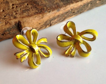 Enamel on Copper, Yellow Enamel Earrings, Vintage Earrings, Ribbon Earrings, Yellow Ribbons, Post Earrings, Etsy, Etsy Jewelry