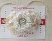 Ivory flower headband with bling for babies newborn photo prop