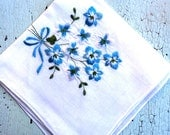 Embroidered cotton vintage handkerchief