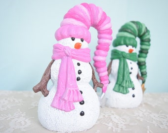 Ceramic Snowman with cute stocking hat - blue snowman - snowman with stick arms - snowman with scarf - cute snowman - Winter Decor