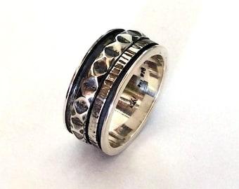 Rustic band, meditation ring, spinning band, men's band, sterling silver band, spinner band, unisex band, wedding band - Jupiter R2170