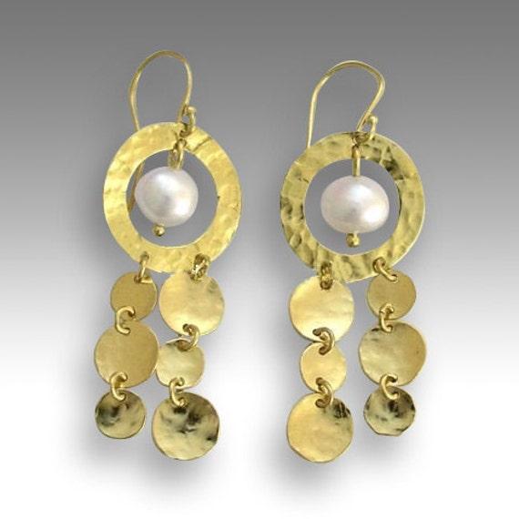 14k yellow gold earrings, long earrings,  fresh water pearl earrings, chandelier earrings, long earrings - Elegance is an attitude EG2032-1