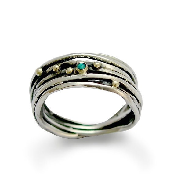Stone Silver Ring, Sterling Silver Ring Band, Wrapped Silver Band, Silver Gold Ring, Opal Gemstone Ring, Opal Band- It feels right R1512C