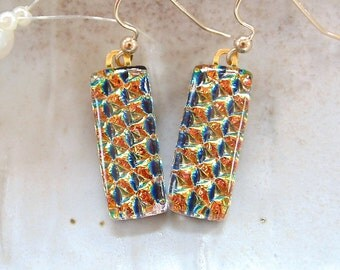 Gold Earrings, Dichroic Glass Earrings, Fused Glass Jewelry, Dangle, Gold Filled, A6