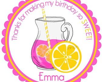 Pink Lemonade  Stickers,Lemonade party,Pink Lemonade stickers, Pink lemonade birthday Party, Summer Birthday party, Lemonade labels